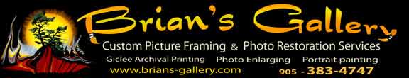picture framer brians gallery and photo restoration service center Ontario Canada